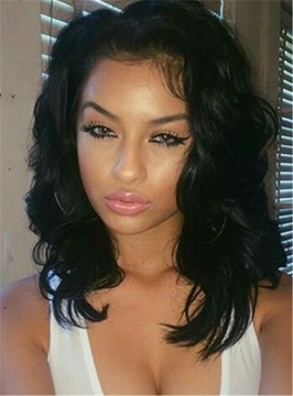 Ericdress Shoulder Length Loose Wavy Synthetic Lace Front African American Wigs 14 Inches