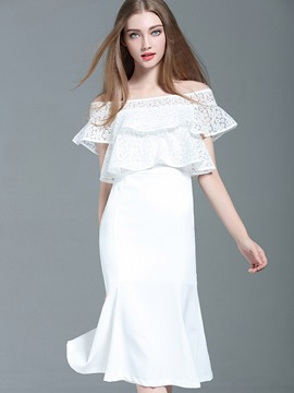 Ericdress Slash Neck Ruffles-Trim Mermaid Lace Dress