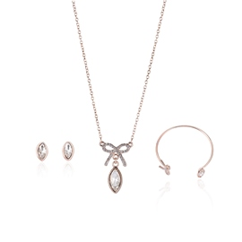 Ericdress Bow Tie White Sapphire Three-Piece Jewelry Set