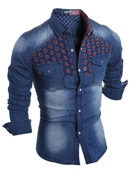Ericdress Holes Long Sleeve Denim Slim Men's Shirt