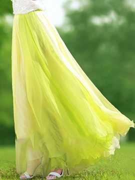 Ericdress Floor-Length Color Pleated Block Skirts