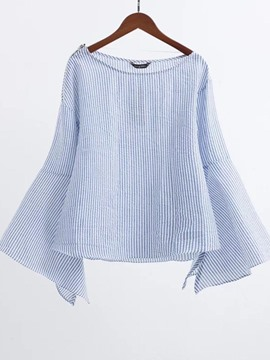 Ericdress Stripe Bell Sleeve Zipper Blouse