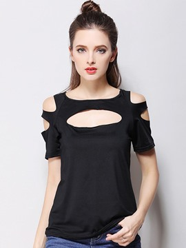 Ericdress Cold Shoulder Hollow Plain T-shirt