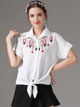 Ericdress Lapel Embroidery Chiffon Lace-Up Blouse