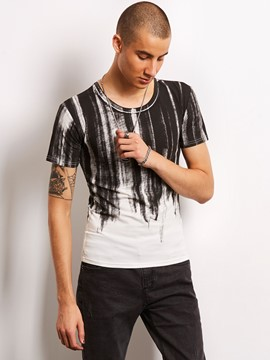 Ericdress Color Block Stripe Print Vogue Casual Locomotive Men's T-Shirt
