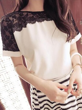 Ericdress Plus-Size Patchwork Lace T-shirt
