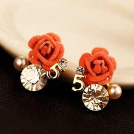 Ericdress Shining Flower Diamante Number 5 Pearl Stud Earring