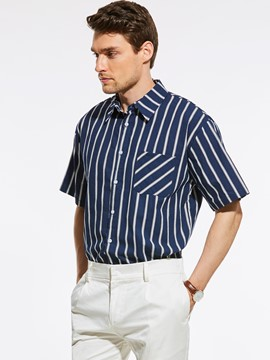 Ericdress Stripe Pocket Loose Vogue Casual Men's Shirt