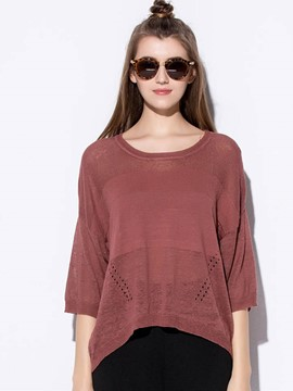 Ericdress Loose Plain Hollow Pullover Knitwear