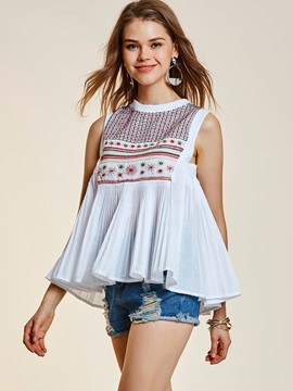 Ericdress Sleeveless Pleated Embroidery T-shirt