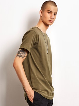 Ericdress Plain Short Sleeve Mid-Length Casual Locomotive Men's T-Shirt