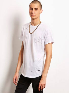 Ericdress Plain Holes Simple Loose Casual Locomotive Men's T-Shirt