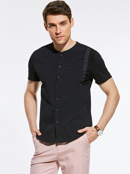 Ericdress Short Sleeve Crew Neck Single-Breasted Vogue Casual Men's Shirt