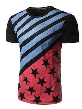 Ericdress Color Block Unique Print Short Sleeve Men's T-Shirt