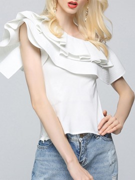 Ericdress Oblique Collar Sleeveless Ruffles Blouse