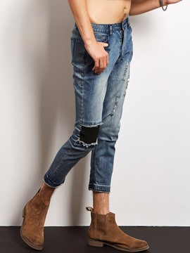 Ericdress Holes Patched Denim Slim Casual Locomotive Men's Pants