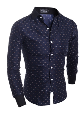 Ericdress Vogue Print Slim Long Sleeve Men's Shirt