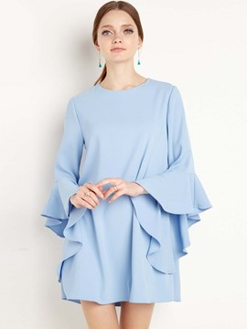 Ericdress Plain Mid-Length Flare Sleeve Blouse