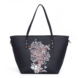 Ericdress Korean Style Floral Embroidery Tote Bag