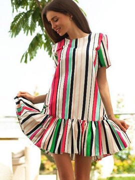 Ericdress Colored Stripe Ruched-Hem Short Sleeves Casual Dress
