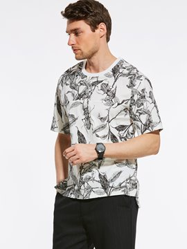 Ericdress Short Sleeve Print Loose Vogue Casual Men's T-Shirt