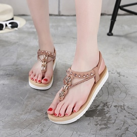 Ericdress Sweet Rhinestone Thong Flat Sandals