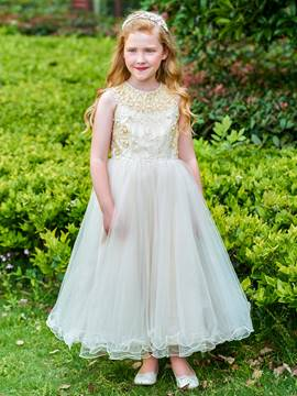 Ericdress Jewel Neck Beaded Ankle Length Flower Girl Dress