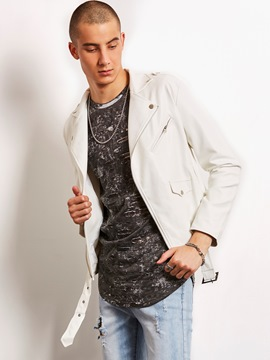 Ericdress White Zip Lapel Vogue Casual Locomotive Men's Jacket