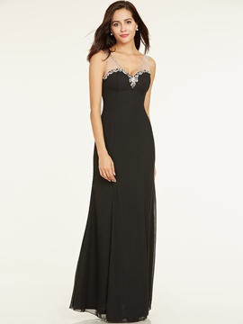 Ericdress A Line V Neck Beaded Floor Length Evening Dress