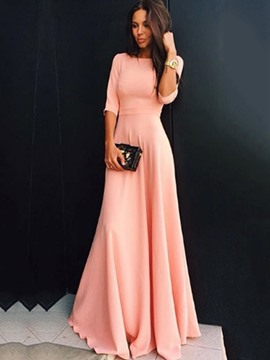 Ericdress Solid Color Half Sleeve Expansion Maxi Dress