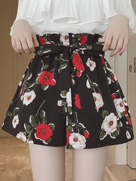 Ericdress High-Waist Lace-Up Floral Shorts Pants
