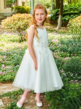 Ericdress Scoop Appliques Ball Gown Tea Length Flower Girl Dress