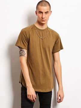 Ericdress Plain Zip Patched Loose Locomotive Men's T-Shirt