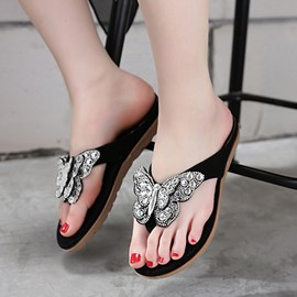 Ericdress Rhinestone Butterfly Thong Slippers
