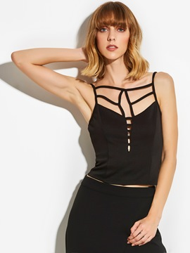 Ericdress Spaghetti Straps Zipper Backless Vest