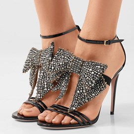 Ericdress Glittering Rhinestone Big Bowtie Stiletto Sandals