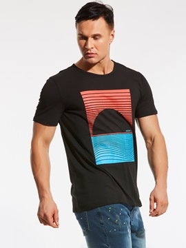 Ericdress Short Sleeve Front Print Casual Plus Size Men's T-Shirt