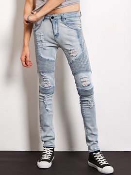 Ericdress Strech Denim Holes Slim Casual Locomotive Men's Jeans