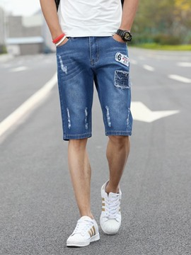 Ericdress Straight Holes Dneim Men's Shorts