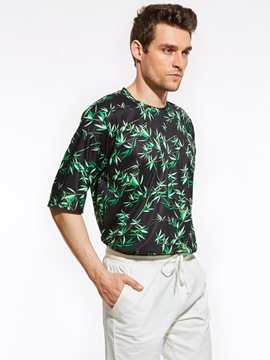 Ericdress Short Sleeve Bamboo Leaf Print Vogue Casual Men's T-Shirt