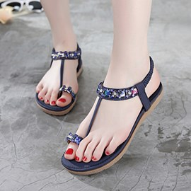 Ericdress Fashionable Toe Ring Rhinestone Flat Sandals