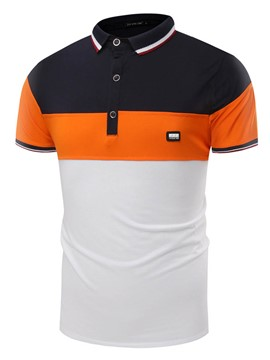 Ericdress Color Block Quality Short Sleeve Polo Men's T-Shirt