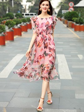 Ericdress Floral Ruffle SleeveTravel Look Maxi Dress