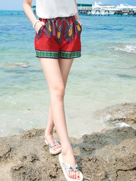 Ericdress Print Pocket Wide Legs Shorts Pants