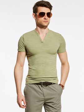 Ericdress Plain V-Neck Short Sleeve Slim Men's T-Shirt