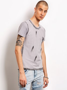 Ericdress Unique Print Short Sleeve Vogue Casual Locomotive Men's T-Shirt