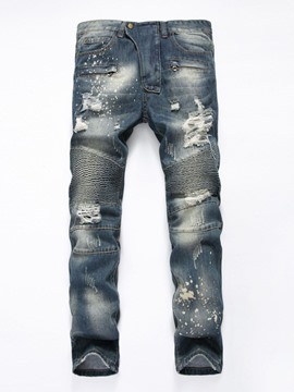 Ericdress Pleated Denim Holes Casual Men's Jeans