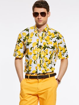 Ericdress Short Sleeve Floral Vogue Casual Gentlemen Shirt