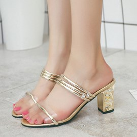 Ericdress Metal Decorated Open Toe Chunky Mules Shoes