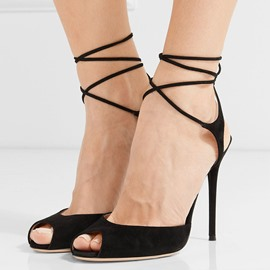 Ericdress Chic Suede Peep Toe Backless Stiletto Sandals